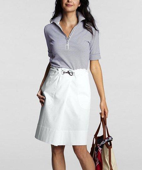 White Clip-Waist Skirt - Petite
