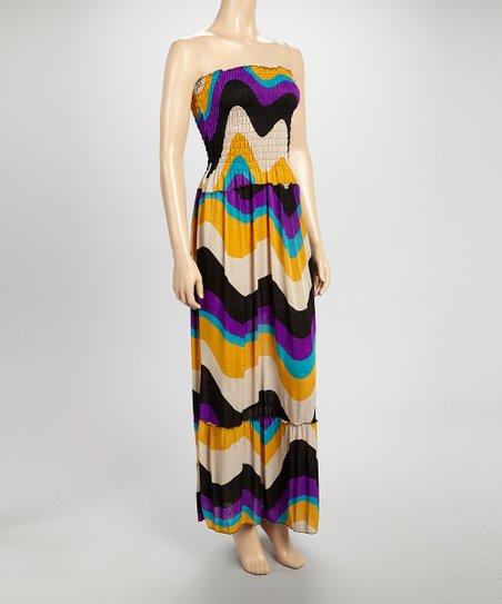 Purple & Gold Smock-Top Maxi Dress