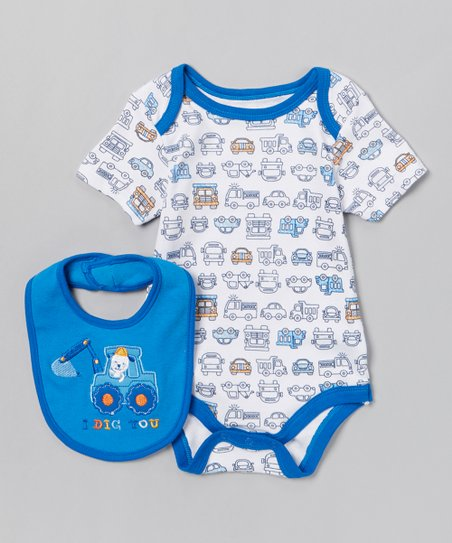 Blue 'I Dig You' Bodysuit & Bib