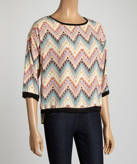 Light Pink & Yellow Zigzag Top