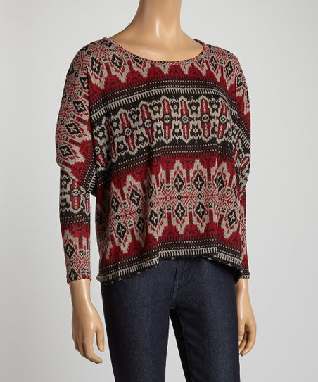 Burgundy & Black Tribal Top