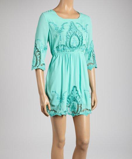 Mint Lace Scoop Neck Dress