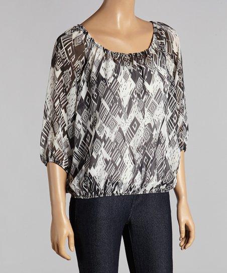 Black & Ivory Sheer Geometric Dolman Top