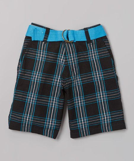 Turquoise Plaid Belted Bermuda Shorts - Toddler & Boys