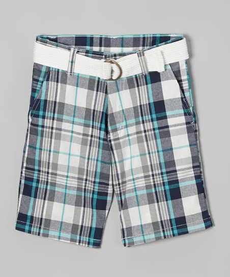 White & Turquoise Plaid Belted Bermuda Shorts - Toddler & Boys