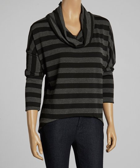 Black & Gray Stripe Cowl Neck Top
