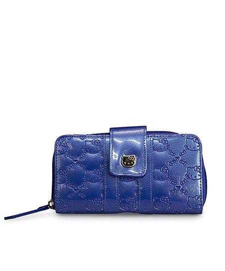Blue Hello Kitty Flap Embossed Wallet