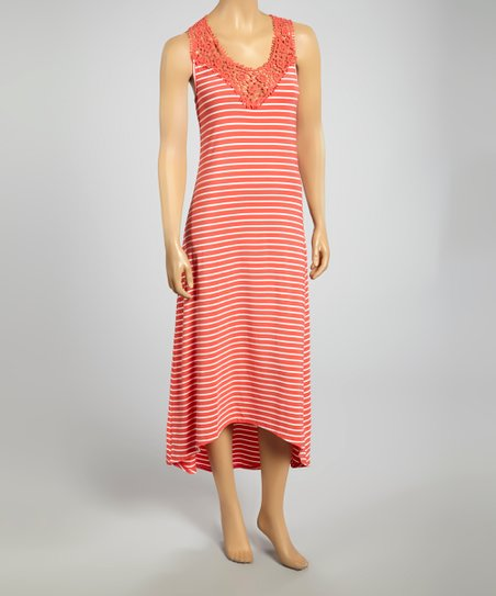 Coral & White Stripe Crocheted Maxi Dress