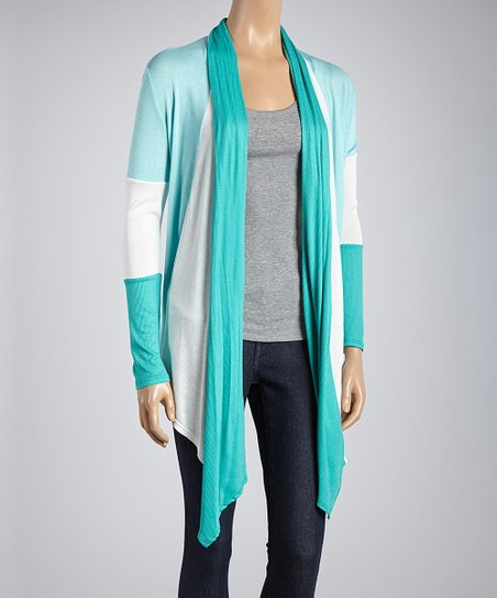 Aqua & White Color Block Open Cardigan