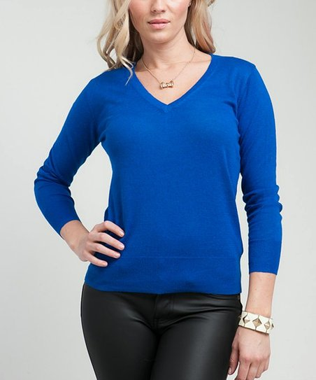 Royal Blue V-Neck Top