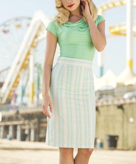 Blue & White Stripe Jetty Pencil Skirt