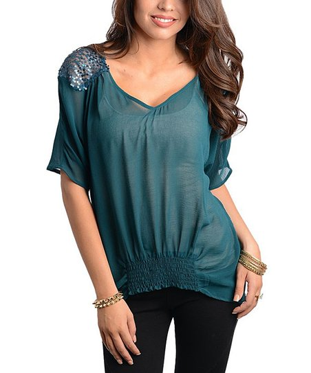 Teal Sequin Shirred Top