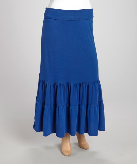 Royal Blue Tiered Maxi Skirt - Plus