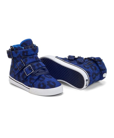 Blue Leopard Straight Jacket Hi-Top Sneaker