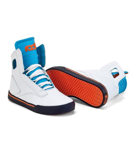 White & Aqua Noble Hi-Top Sneaker