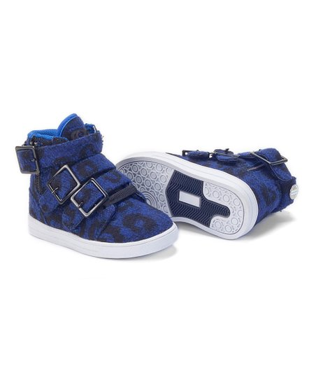 Blue Leopard & White Straight Jacket Hi-Top Sneaker