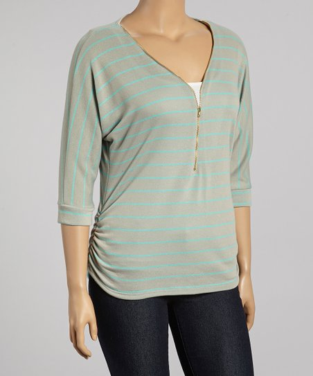 Green & Mint Stripe Zip-Up Three-Quarter Sleeve Top - Plus