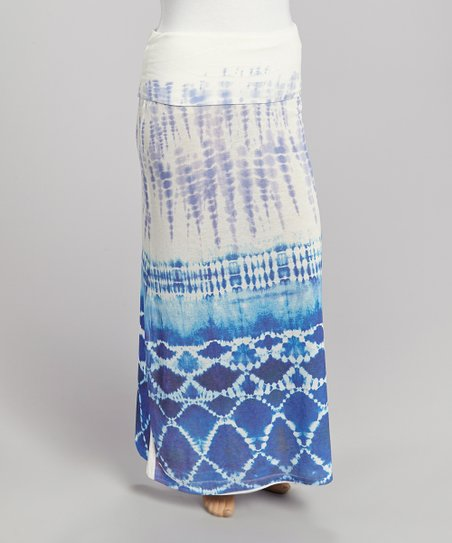 Purple & Blue Tie-Dye Maxi Skirt - Plus