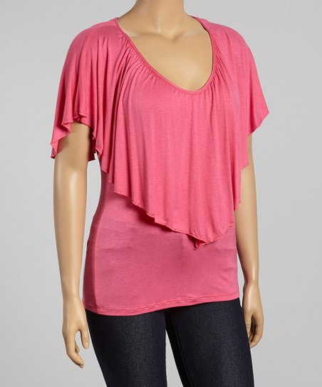 Hot Pink Soft V-Neck Cape-Sleeve Top - Plus