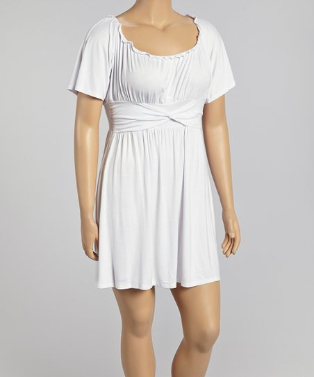 White Angel-Sleeve Dress - Plus