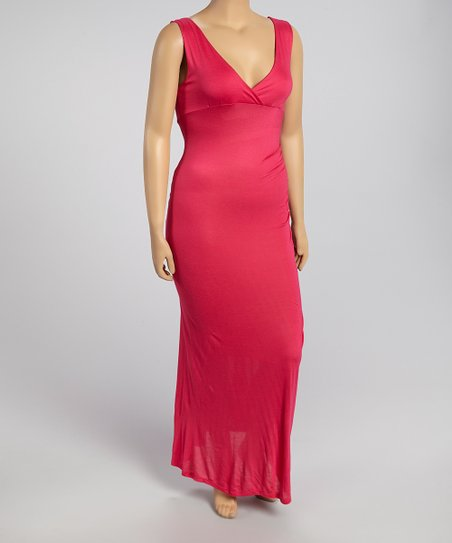 Hot Pink V-Neck Maxi Dress - Plus