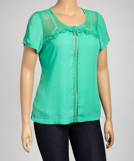 Mint Mesh-Yoke Scoop Neck Top - Plus