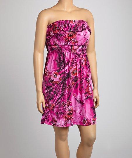 Fuchsia Abstract Strapless Dress - Plus