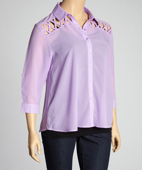 Lavender Button-Up Top - Plus