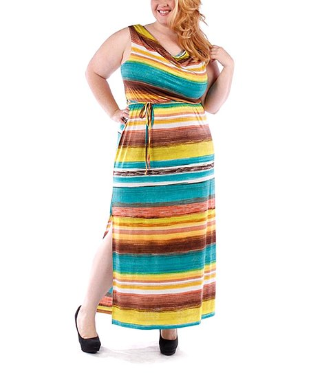Brown & Teal Sleeveless Maxi Dress - Plus