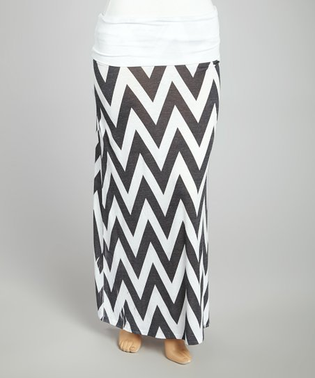 Black & White Zigzag Maxi Skirt - Plus