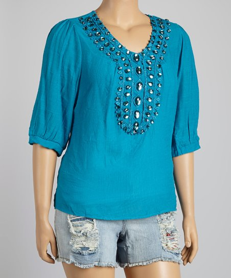 Teal Jeweled V-Neck Top - Plus