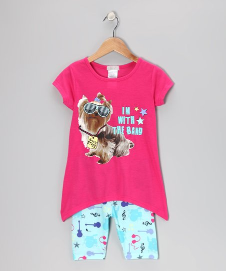 Pink Backstage Puppy Pajama Top & Bottoms - Girls