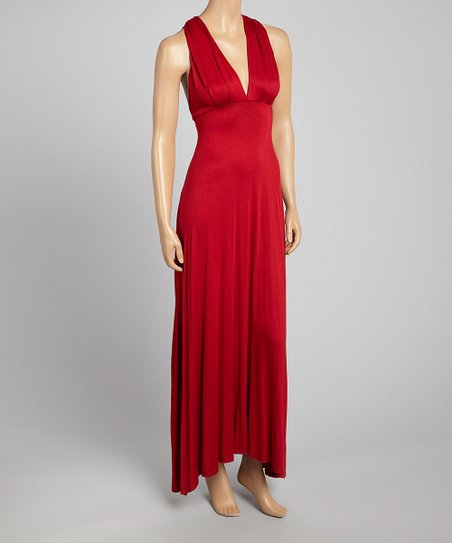 Red Empire-Waist V-Neck Dress