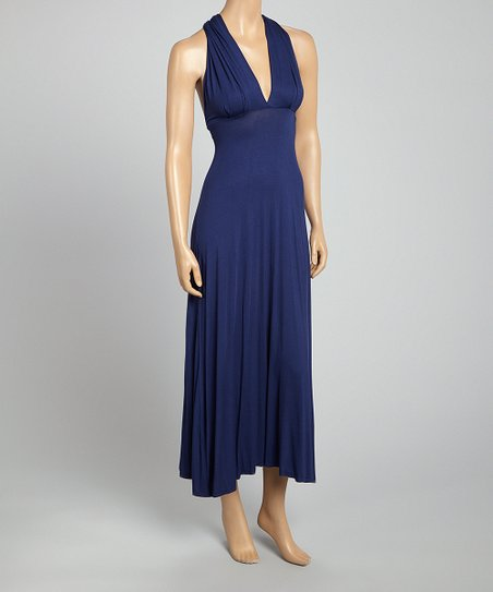 Navy Empire-Waist V-Neck Dress