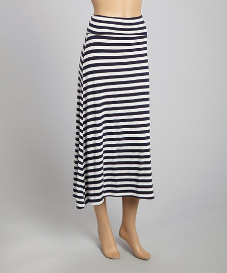 Navy & White Stripe Maxi Skirt
