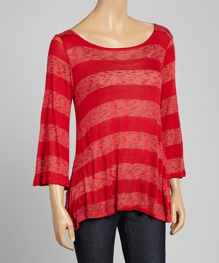 Red Sheer Stripe Tunic
