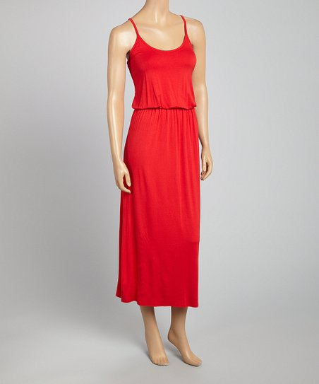 Red Blouson Sleeveless Dress