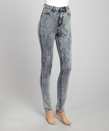 Gray Acid Wash Skinny Pants