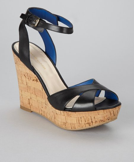 Black Veruca Wedge Sandal