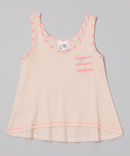 Mango & Neon Pink Stripe Pocket Swing Tank - Toddler & Girls