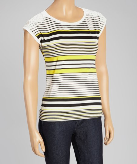 Yellow Stripe Lace Sleeve Top