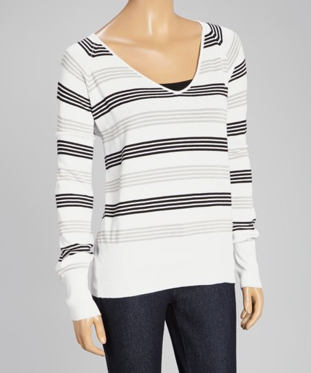 Gray Stripe V-Neck Sweater