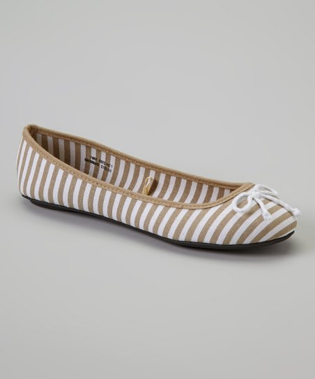 Natural Canvas Stripe Flat