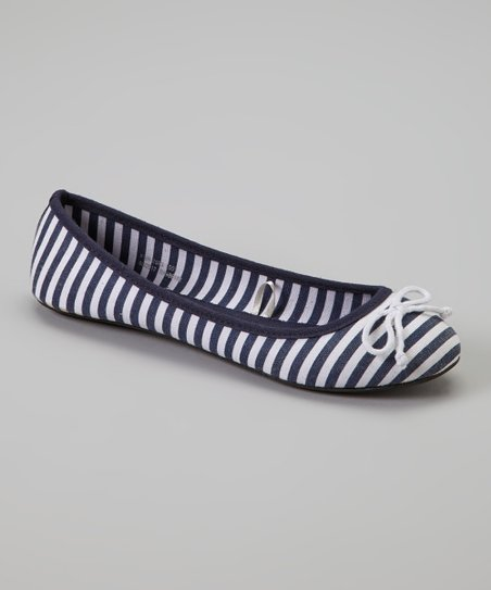 Navy Canvas Stripe Flat
