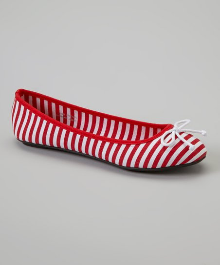 Red Canvas Stripe Flat