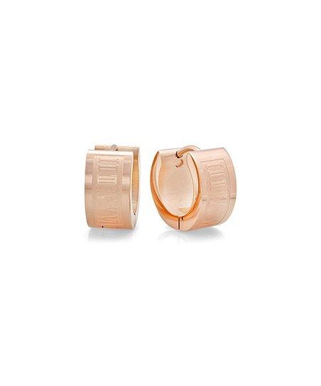 Rose Gold Roman Numeral Huggie Earrings