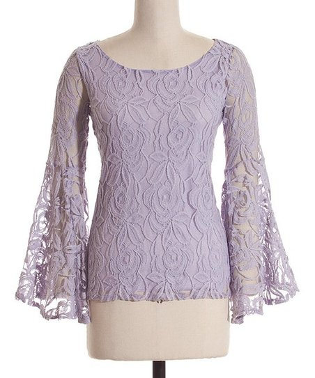 Lilac Lace Overlay Bell Sleeve Top