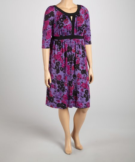 Purple Floral Keyhole Bewitching Dress - Plus