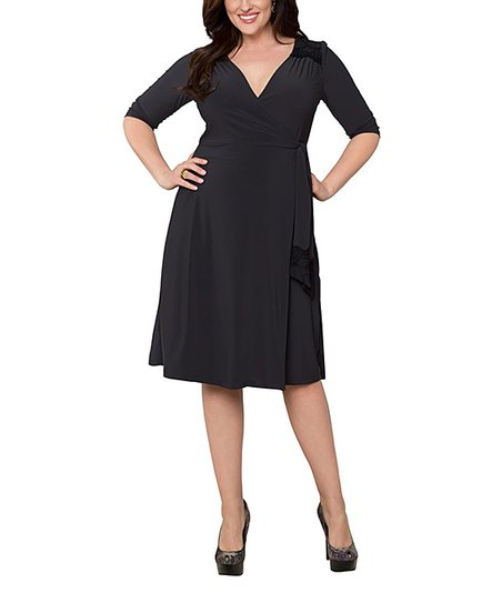 Charcoal & Black Julieanne Wrap Dress - Plus