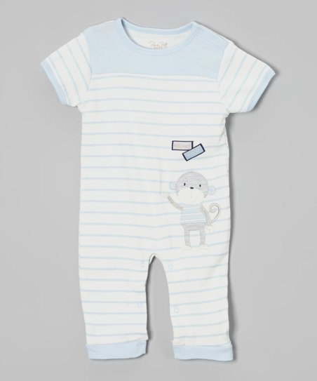 Light Blue & White Stripe Monkey Romper